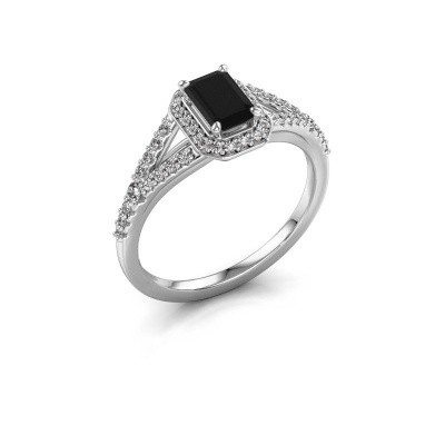 Verlovingsring Pamela EME 585 witgoud zwarte diamant 1.09 crt