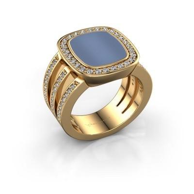 Foto van Zegelring Tijn 585 goud licht blauwe lagensteen 13x11 mm