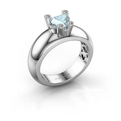 Ring Cornelia Heart 585 white gold aquamarine 6 mm