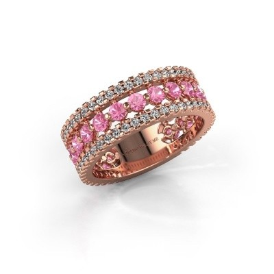 Engagement ring Elizbeth 2 375 rose gold pink sapphire 2.4 mm