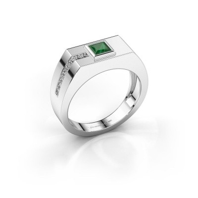 Foto van Heren ring Robertus 1 375 witgoud smaragd 4 mm