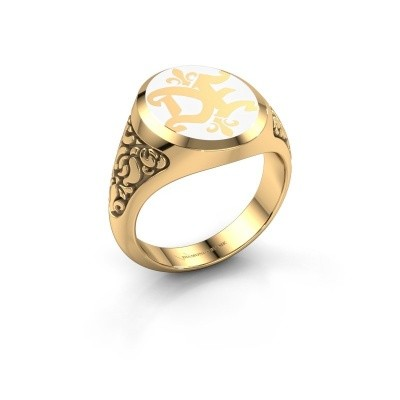 Monogram ring Brian Emaille 585 goud witte emaille