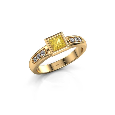 Stacking ring Lieke Square 585 gold yellow sapphire 4 mm
