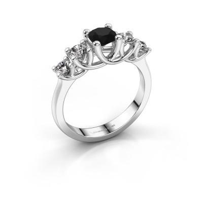 Verlobungsring Jet 925 Silber Schwarz Diamant 1.100 crt