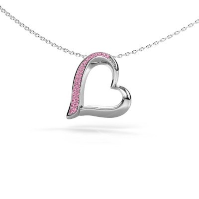 Halsketting Heart 1 585 witgoud roze saffier 1.2 mm