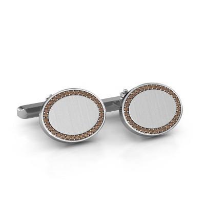 Foto van Manchetknopen Richano 925 zilver bruine diamant 0.51 crt