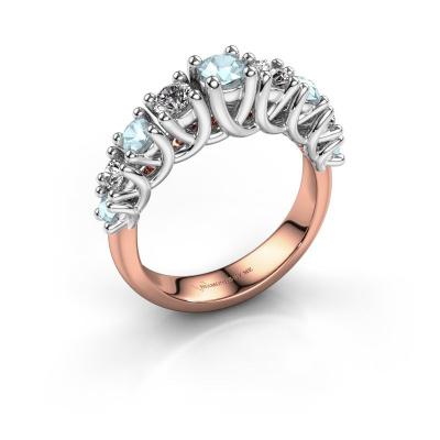 Engagement ring Fatima 585 rose gold aquamarine 3.7 mm