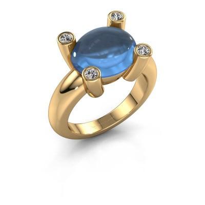 Bague Janice OVL 585 or jaune topaze bleue 12x10 mm