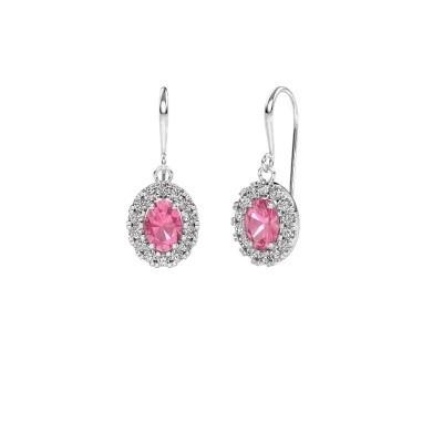 Oorhangers Jorinda 1 950 platina roze saffier 7x5 mm