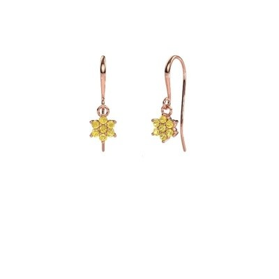 Drop earrings Dahlia 1 375 rose gold yellow sapphire 1.7 mm
