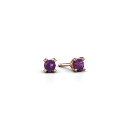 Picture of Stud earrings Isa 375 rose gold amethyst 3 mm