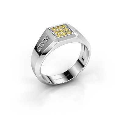 Pinky ring Bas 375 white gold yellow sapphire 1.7 mm