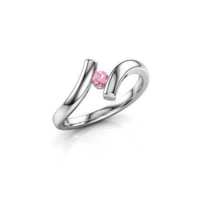 Ring Amy 950 platina roze saffier 3 mm