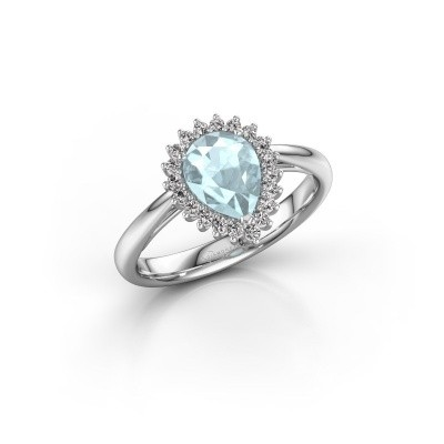 Picture of Engagement ring Tilly per 1 585 white gold aquamarine 8x6 mm