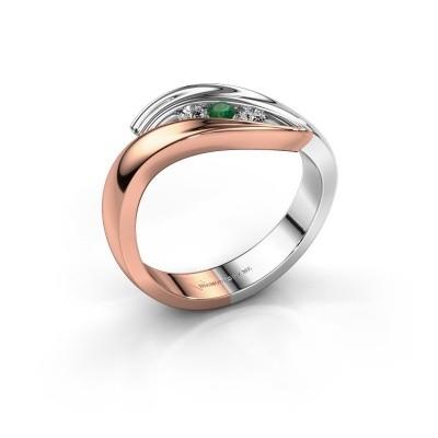 Foto van Ring Erin 585 rosé goud smaragd 2.4 mm