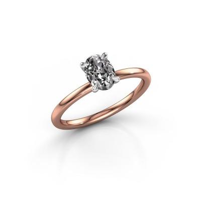 Foto van Verlovingsring Crystal OVL 1 585 rosé goud zirkonia 7x5 mm