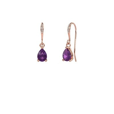 Picture of Drop earrings Laurie 2 375 rose gold amethyst 7x5 mm