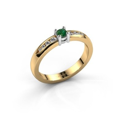 Verlovingsring Zohra 585 goud smaragd 3 mm