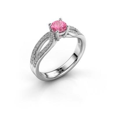 Foto van Verlovingsring Antonia 2 925 zilver roze saffier 5 mm