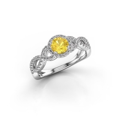 Engagement ring Dionne rnd 585 white gold yellow sapphire 5 mm