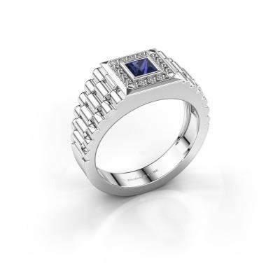 Heren ring Zilan 950 platina saffier 4 mm
