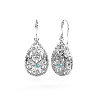Picture of Drop earrings Idalia 2 375 white gold blue topaz 2 mm