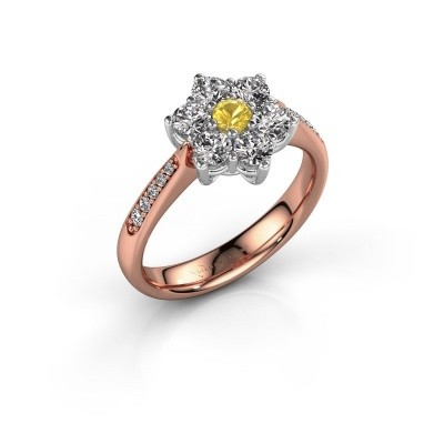 Engagement ring Chantal 2 585 rose gold yellow sapphire 3 mm