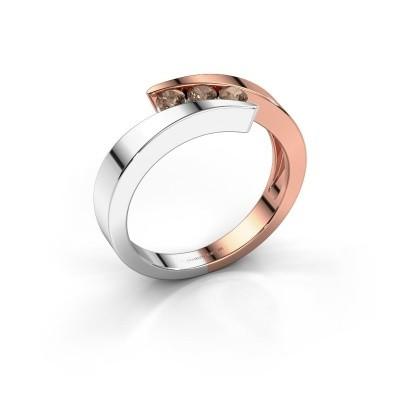Foto van Ring Gracia 585 rosé goud bruine diamant 0.24 crt