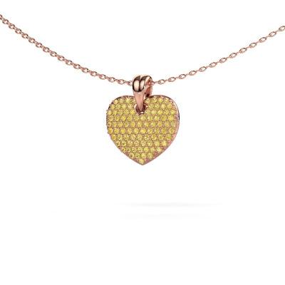 Foto van Halsketting Heart 5 375 rosé goud gele saffier 0.8 mm