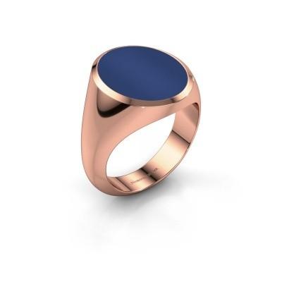 Signet ring Herman 6 375 rose gold lapis 16x13 mm