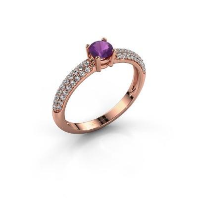 Foto van Ring Marjan 375 rosé goud amethist 4.2 mm
