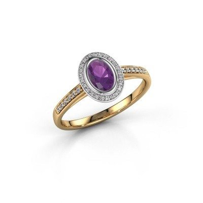 Engagement ring Noud 2 OVL 585 gold amethyst 6x4 mm