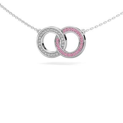 Ketting Circles 1 925 zilver roze saffier 1 mm