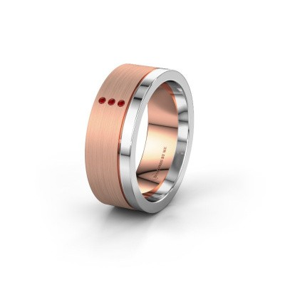Wedding ring WH0325L17APM 585 rose gold ruby ±0.28x0.07 in