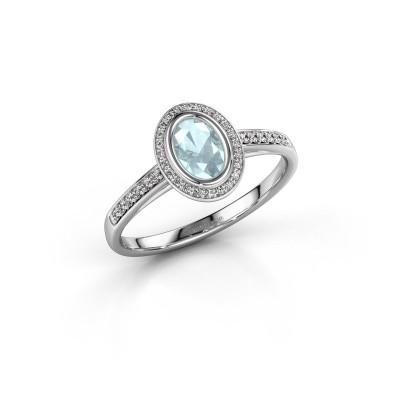 Picture of Engagement ring Noud 2 OVL 950 platinum aquamarine 6x4 mm