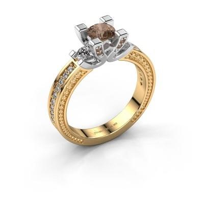 Foto van Aanzoeksring Ninthe 585 goud bruine diamant 0.889 crt