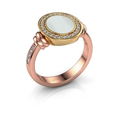Signet ring Bailey 585 rose gold green sardonyx 10x8 mm
