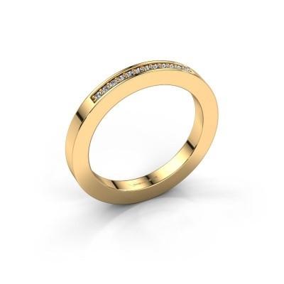 Stackable ring Loes 1 375 gold zirconia 1.1 mm