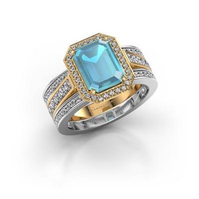 Foto van Ring Dodie 3 585 goud blauw topaas 9x7 mm