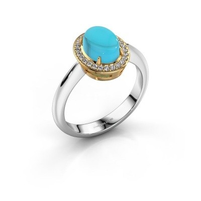 Ring Kristian 585 witgoud blauw topaas 8x6 mm