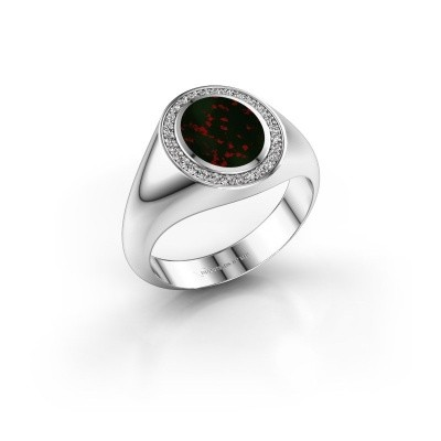 Pinky ring Adam 1 375 white gold bloodstone 10x8 mm