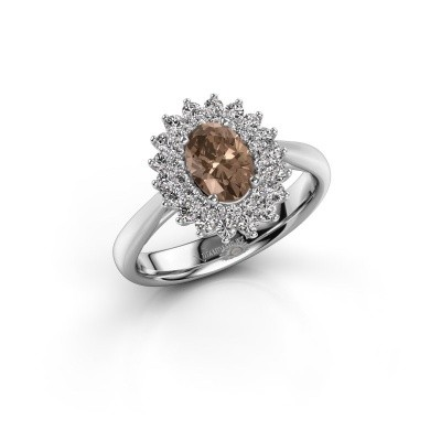 Verlovingsring Alina 1 925 zilver bruine diamant 0.80 crt