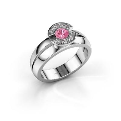 Foto van Ring Jeanet 1 585 witgoud roze saffier 4 mm