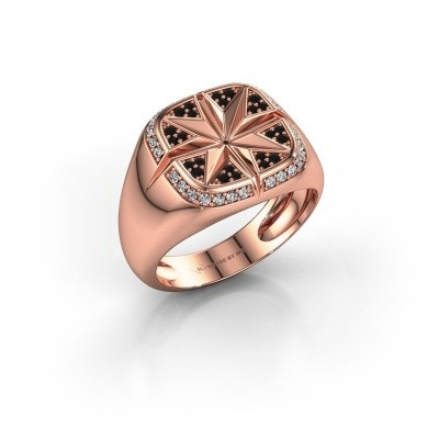 Heren ring Ravi 375 rosé goud zwarte diamant 0.378 crt