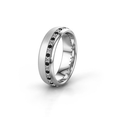 Trouwring WH0303L36BMP 925 zilver zwarte diamant ±6x2 mm