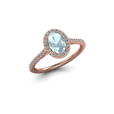 Engagement ring Seline 2 375 rose gold aquamarine 7x5 mm