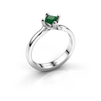 Verlobungsring Dewi Square 925 Silber Smaragd 4 mm