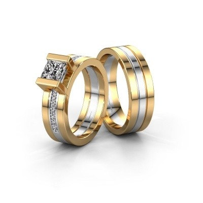 Picture of Wedding rings set WHR0357LM16AP ±6x2 mm 14 Carat gold diamond 0.40 crt