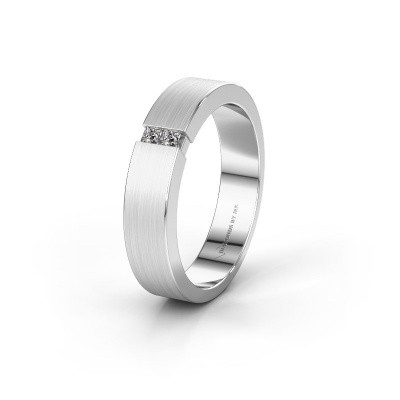 Trouwring WH2136M15E 585 witgoud diamant ±5x2.4 mm