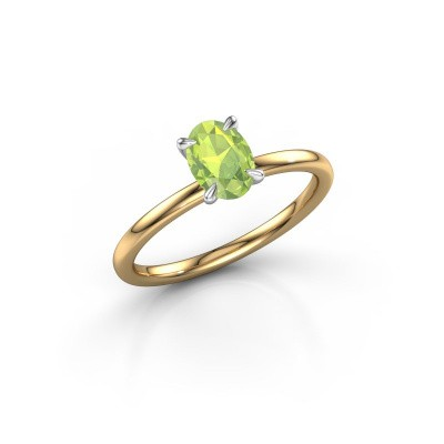Picture of Engagement ring Crystal OVL 1 585 gold peridot 7x5 mm